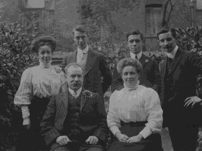 Family group photographed in the garden of 41 Landor Road, Stockwell, where the family lived. Back row, left to right: Mabel, Oscar, Henry and Eric. Seated in front: Alf and Rose. Approximate date 1911. (Photo courtesy of Sarah Mackay)