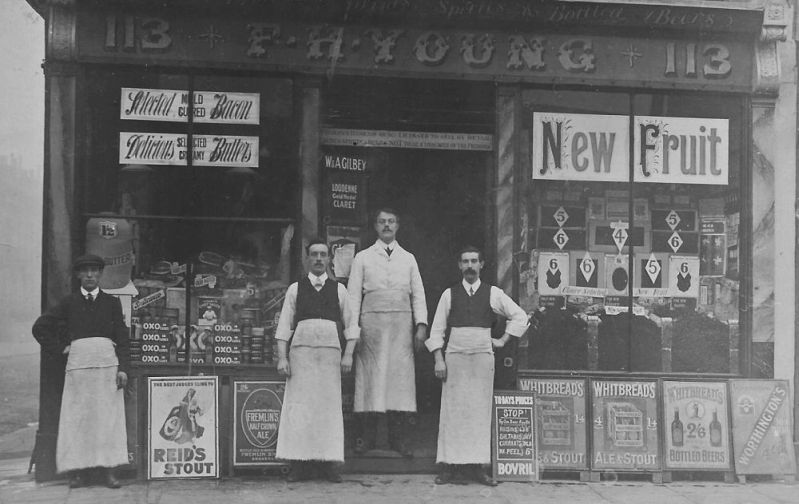 William Turpin (centre) at Young's on Larkhall Lane, at the corner of Gaskell Street